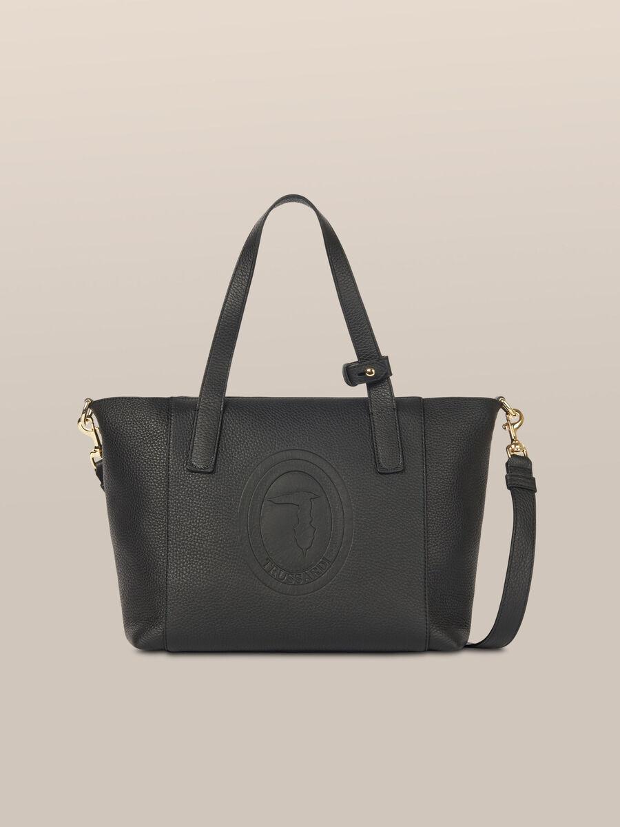 Leather Olivia satchel with logo