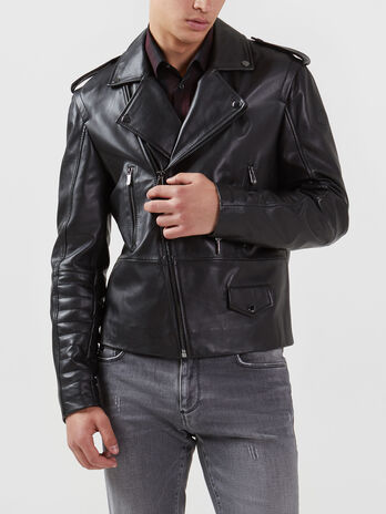 Motorcycle Jacket in pelle regular fit