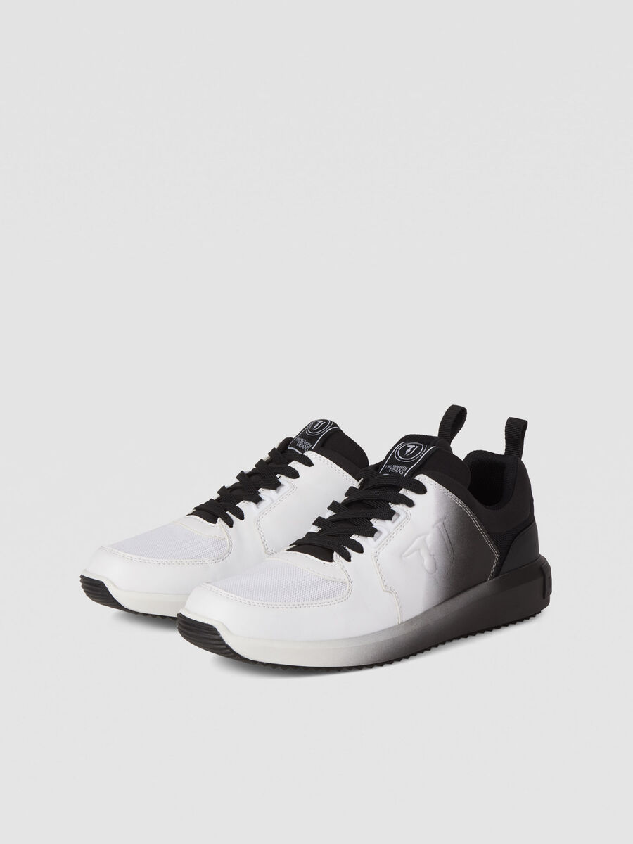 Graduated effect faux leather running sneakers