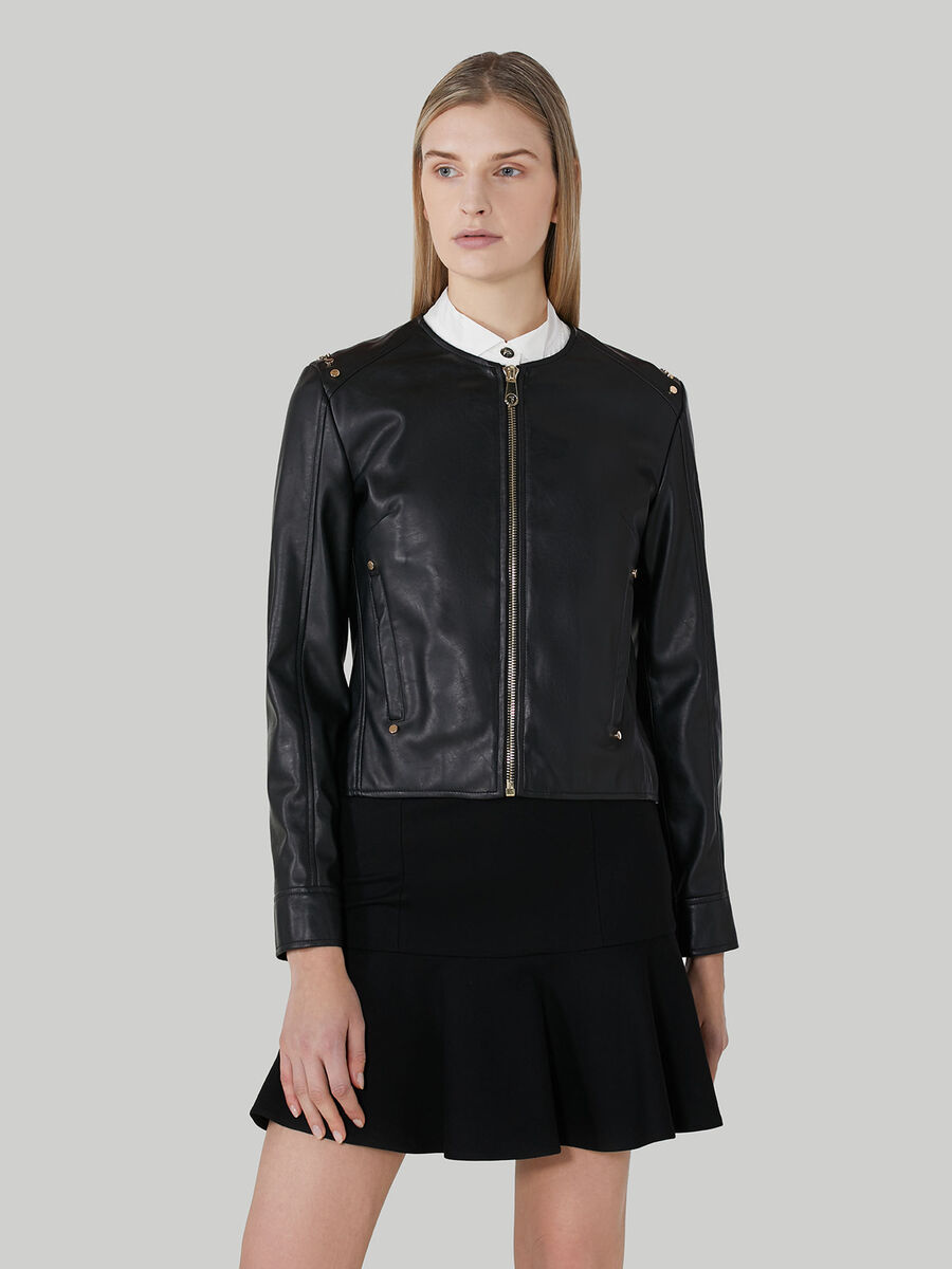 Crew-neck jacket in studded