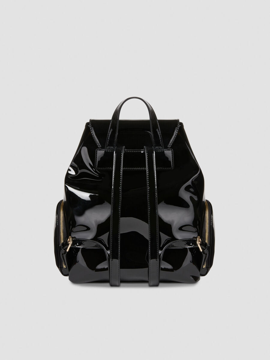 Patent leather backpack with maxi logo