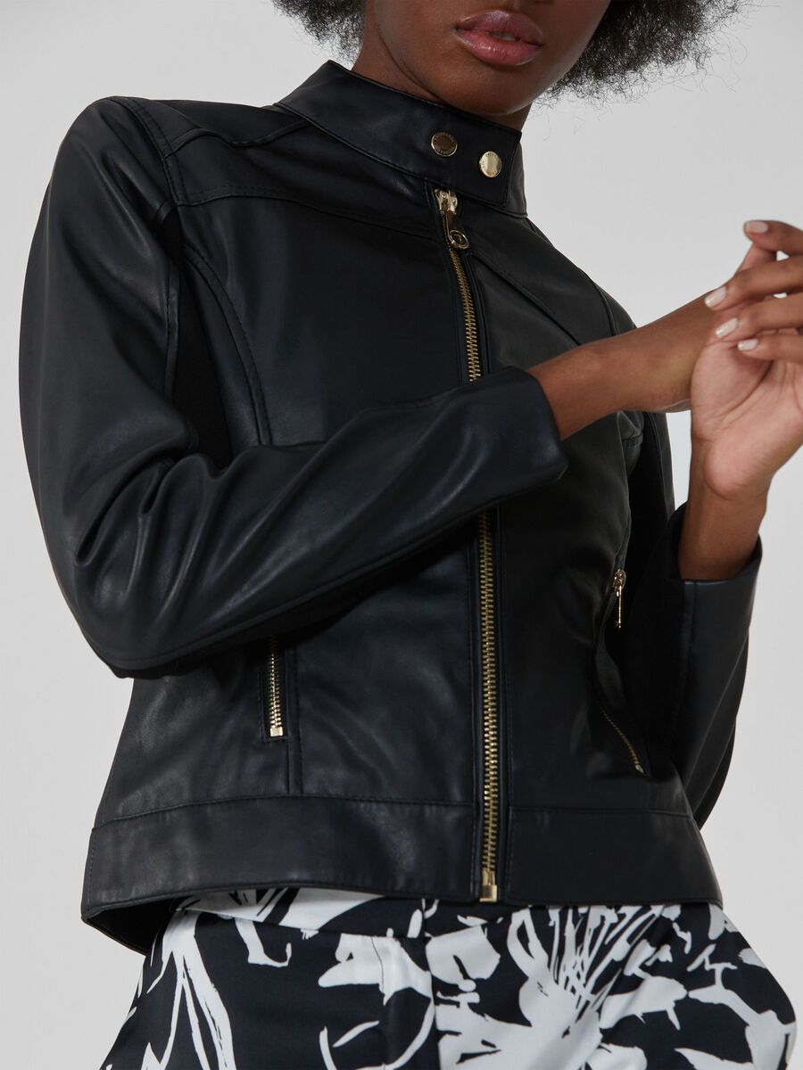 Soft faux leather jacket with zip