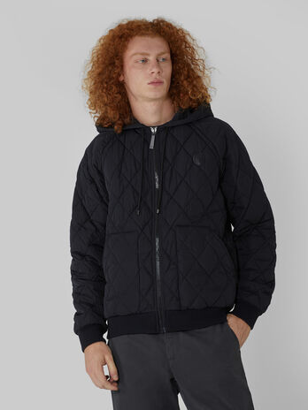 Quilted fabric jacket with hood