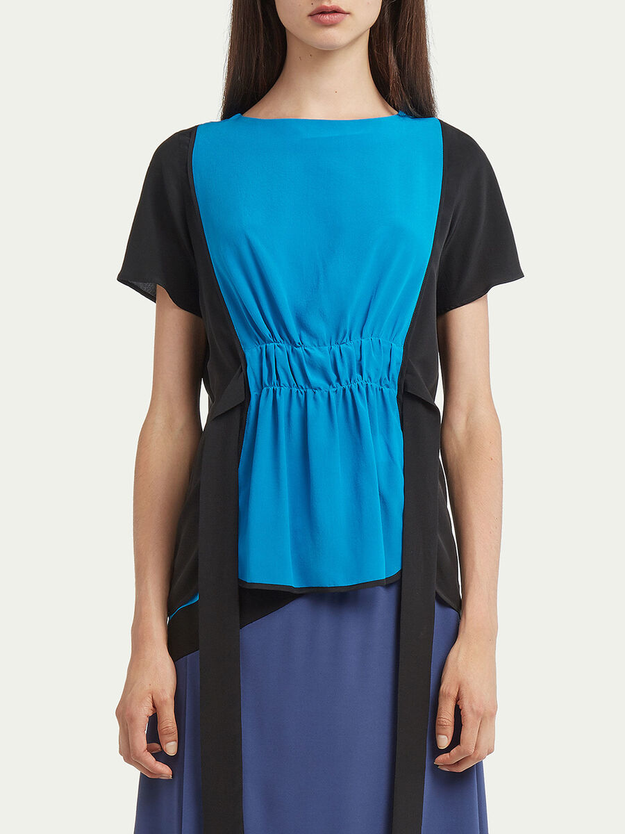 Belted crepe de chine blouse with colour blocking