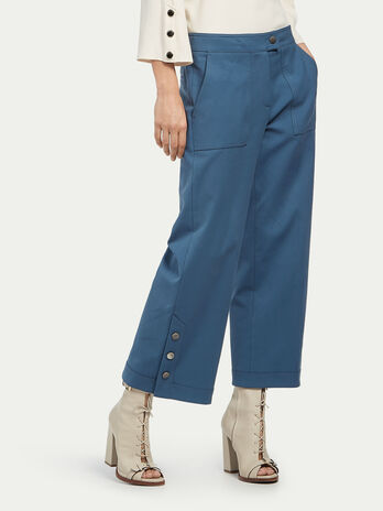 Stretch gabardine trousers with buttons