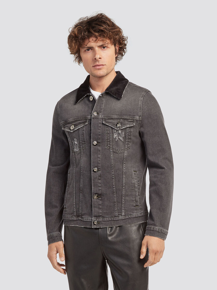Denim jacket with fine rib collar