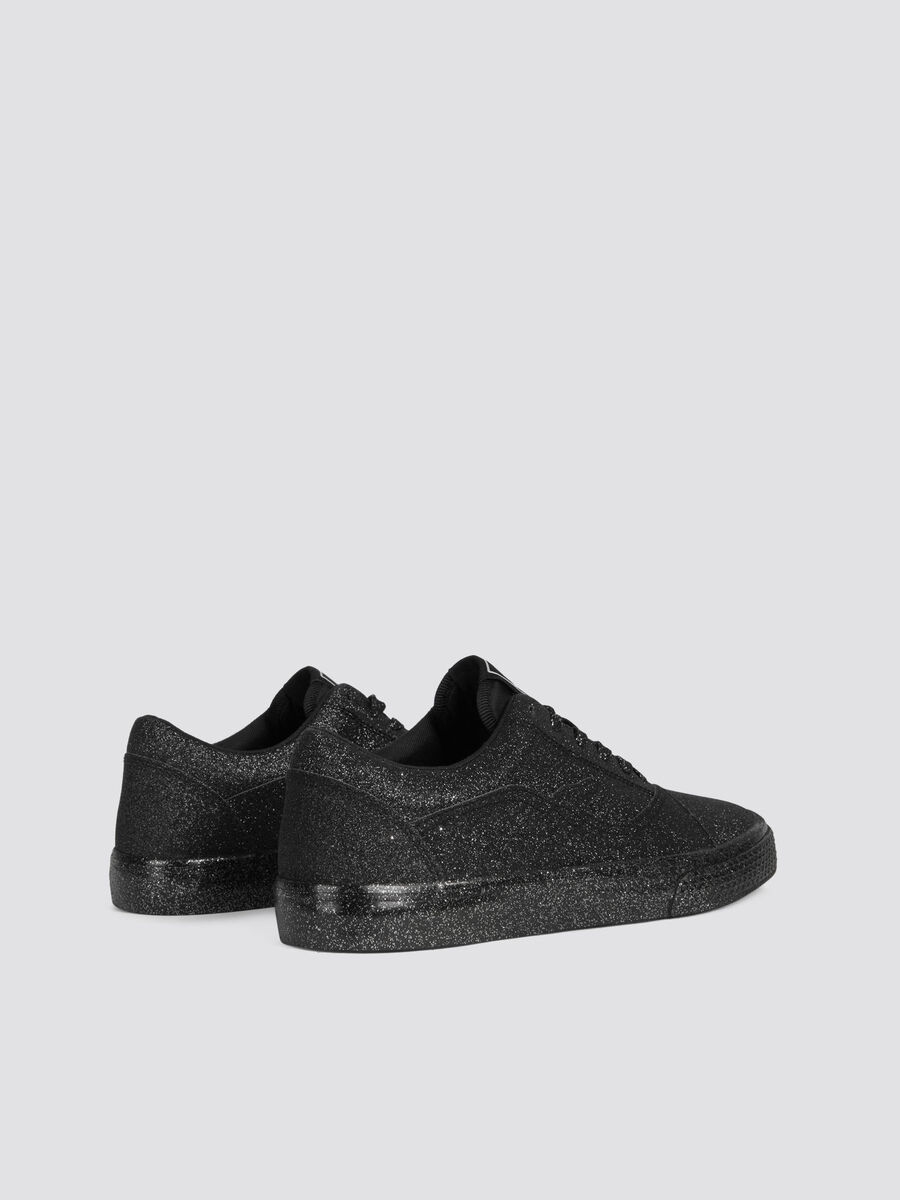 Glittery disco sneakers with branded tongue