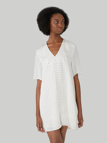 Short viscose dress with polka-dot print
