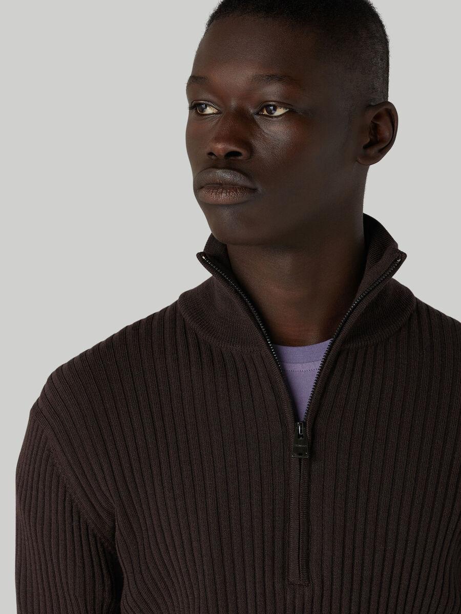 Slim-fit wool pullover with half-zip