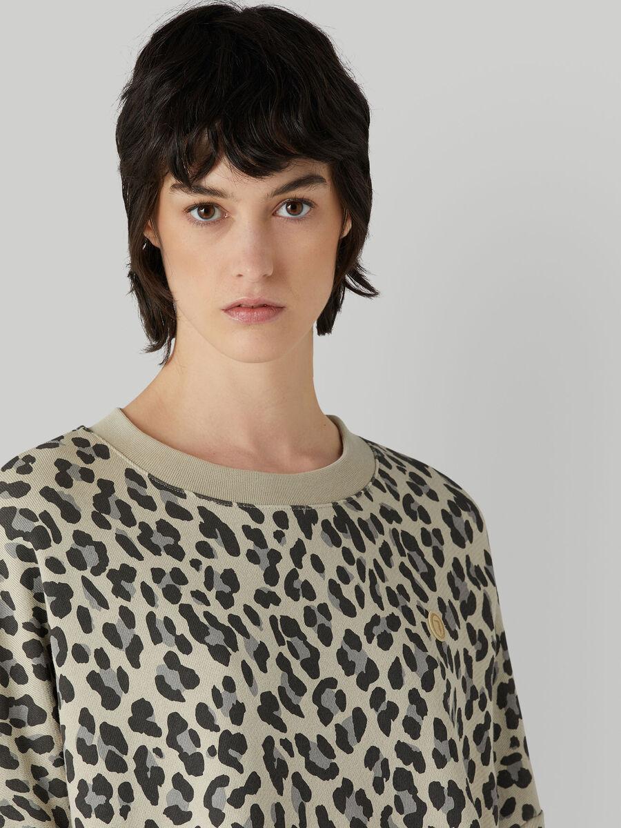 Cotton sweatshirt with animal print