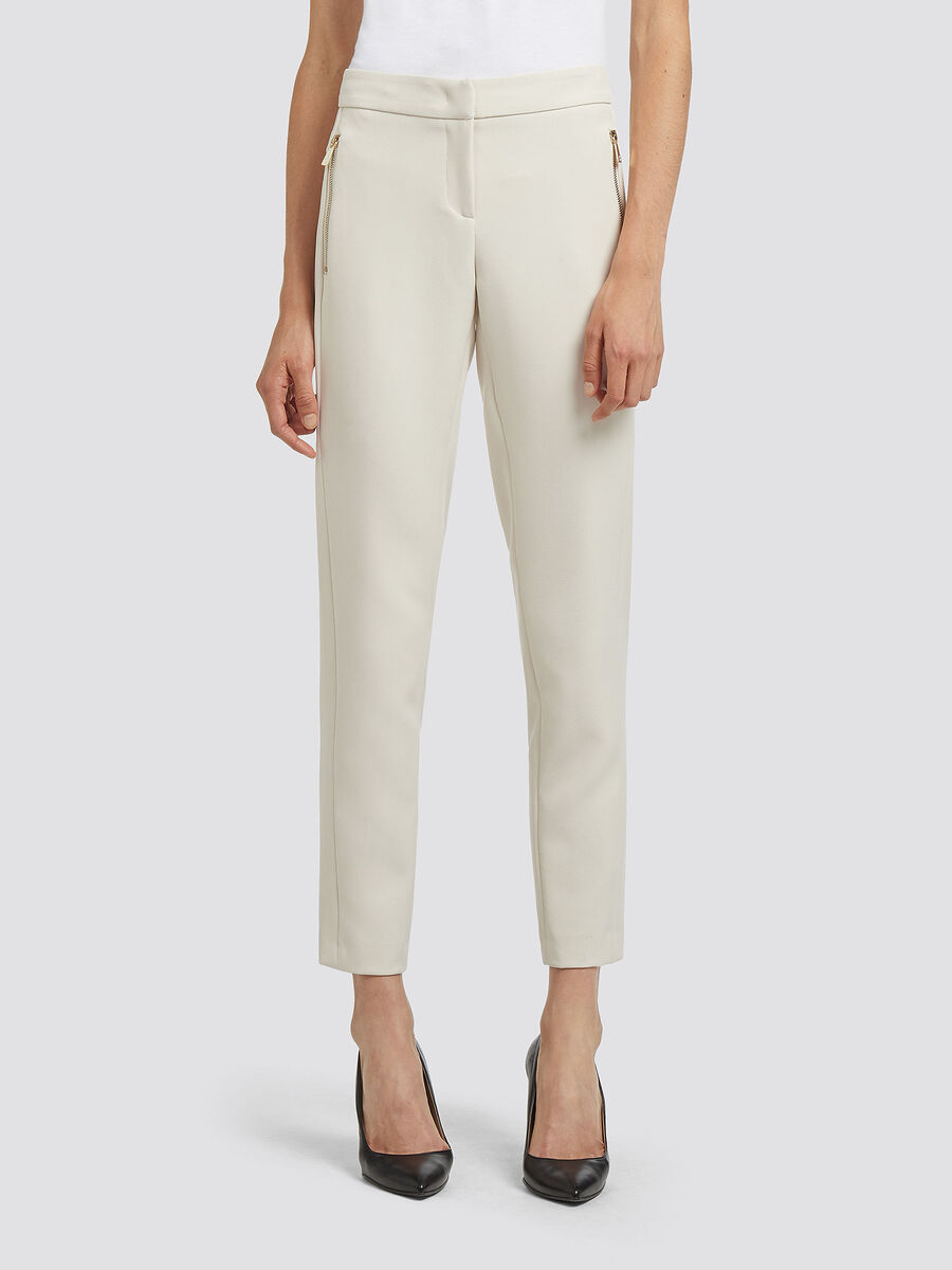 Solid colour stretch cigarette trousers