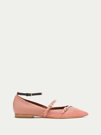 Pointed ballet flats with straps