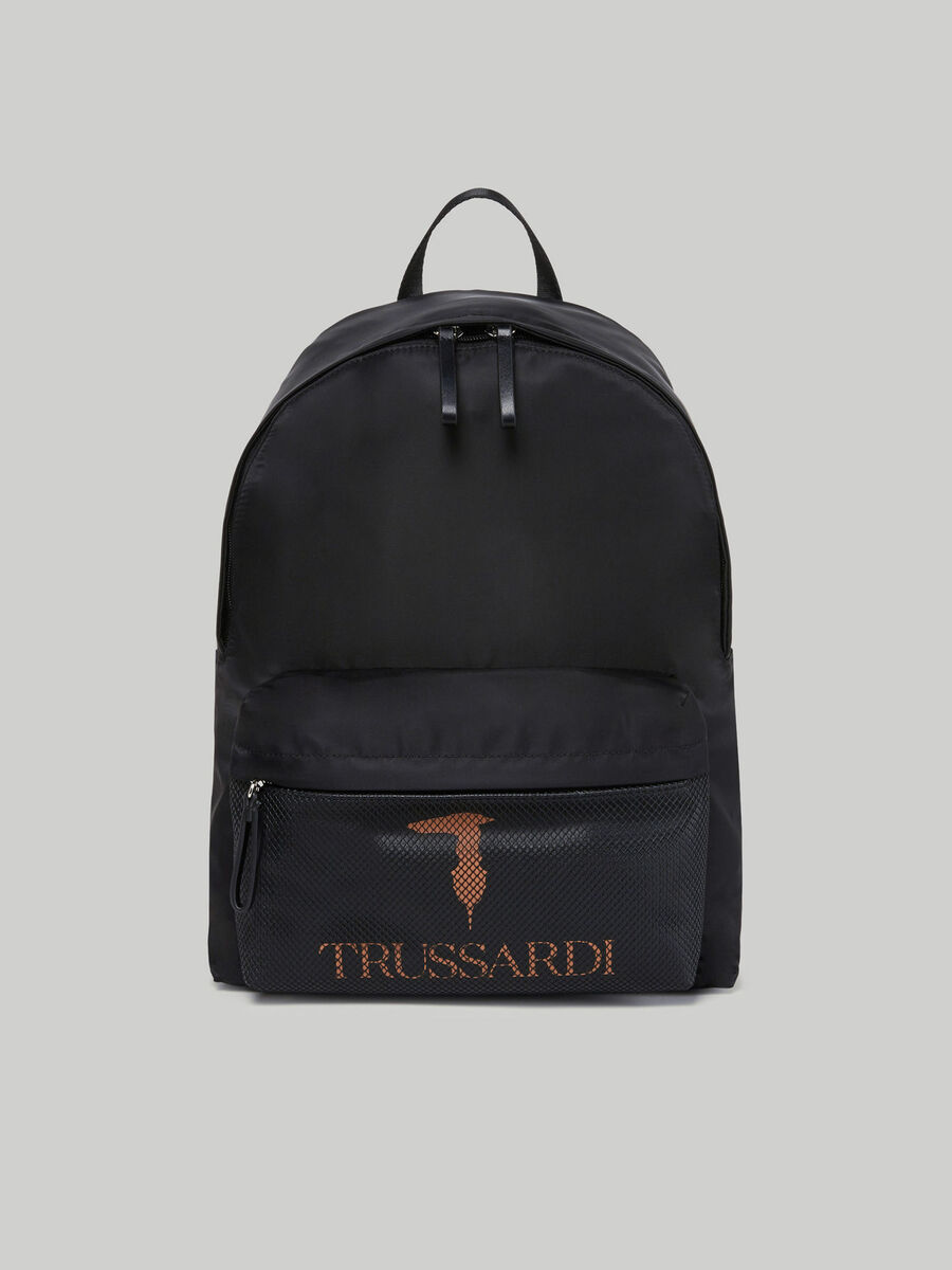 Medium nylon backpack with branded pocket