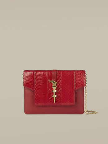 Clutch Leila medium in pelle e pitone