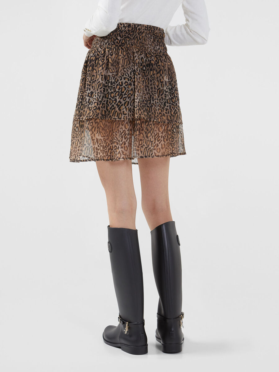 Rock aus Georgette im Animal Print