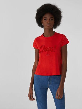 Baumwoll-T-Shirt im Cropped-Fit mit Strass