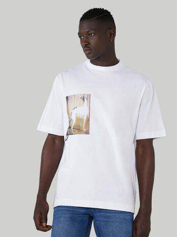 Oversized pure cotton T-shirt with asymmetrical print
