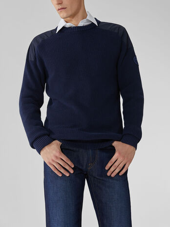 Nylon and cotton crew-neck pullover