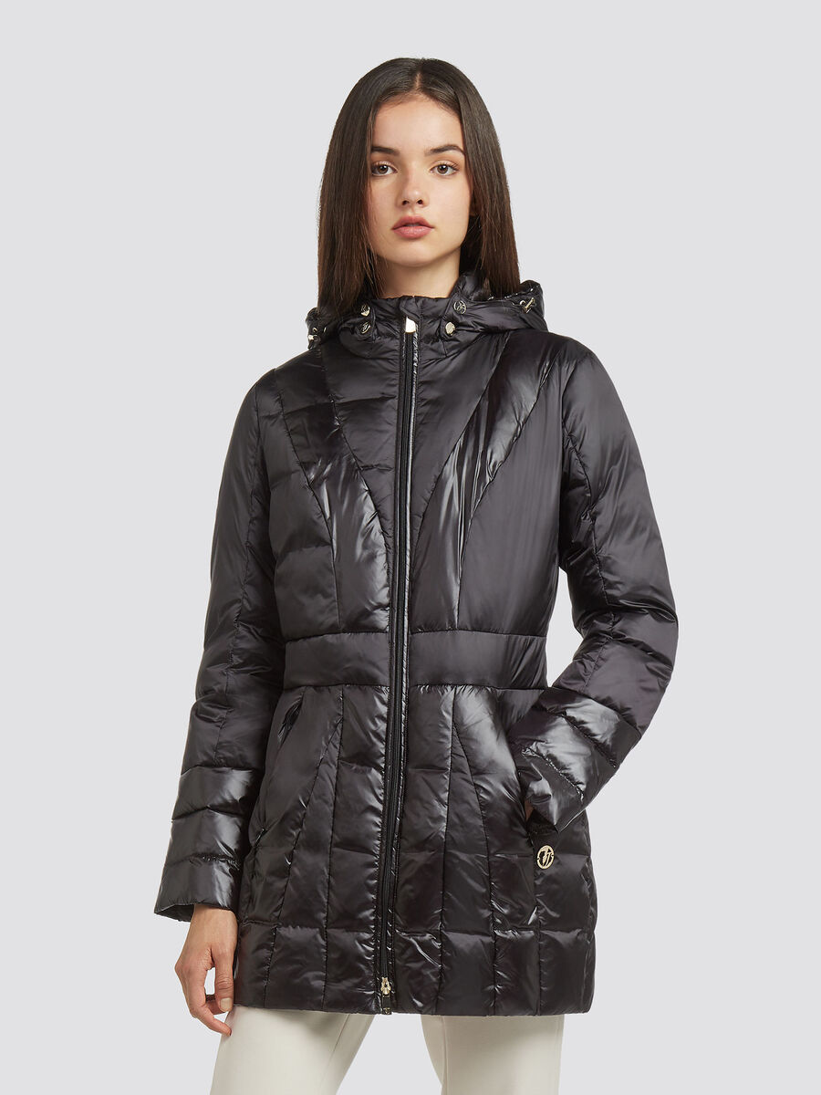 Hooded slim fit down jacket with a shiny look | Trussardi.com