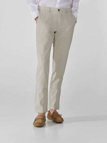 Pantaloni aviator fit in cotone e lino