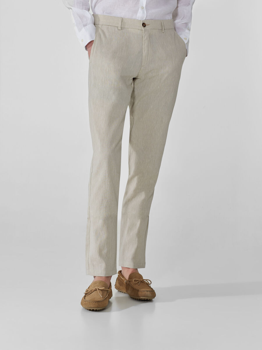 Linen and cotton Aviator-fit trousers
