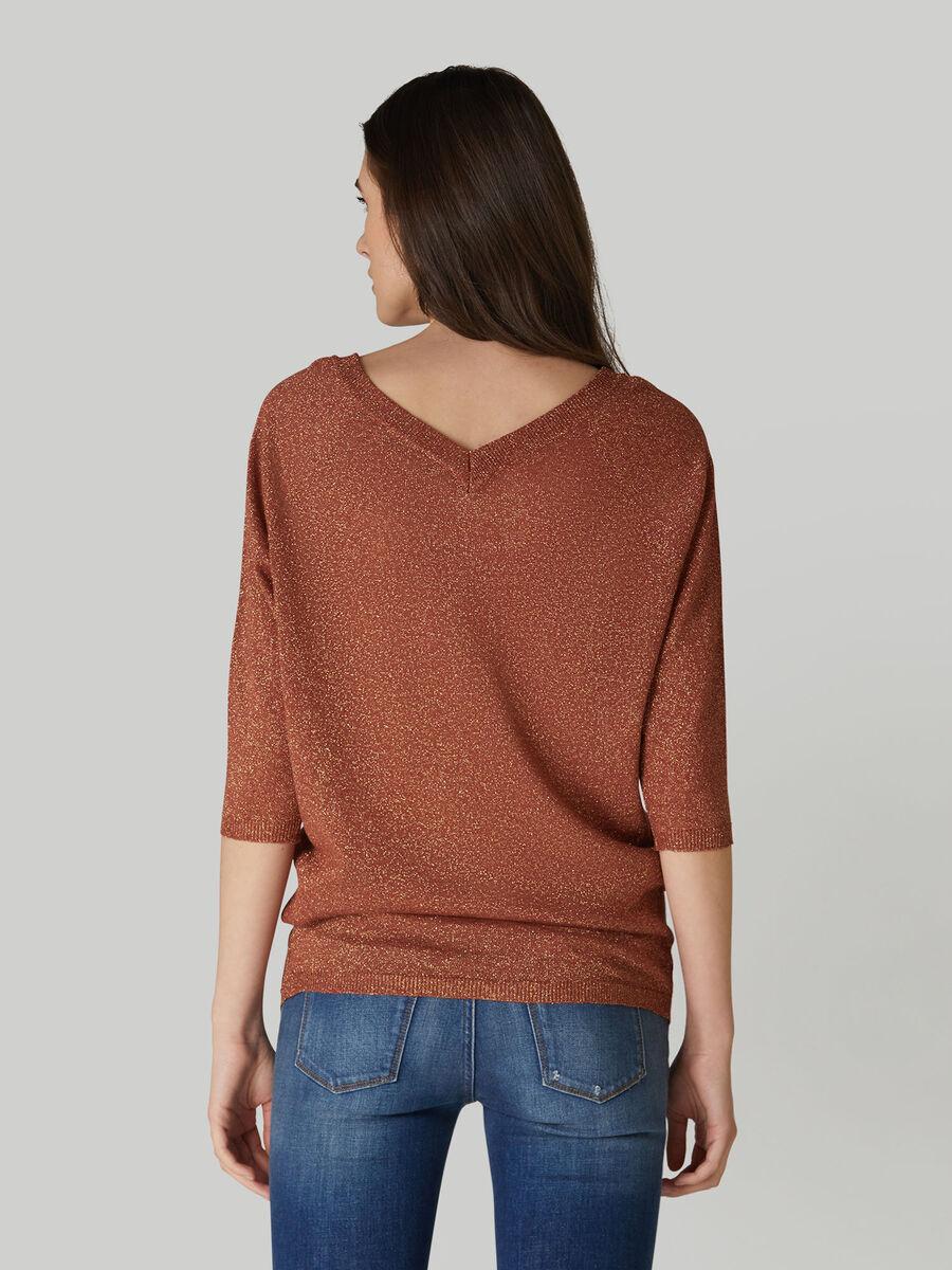 V-neck linen and lurex top