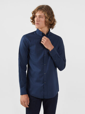 Camisa botton down de corte regular de microjacquard