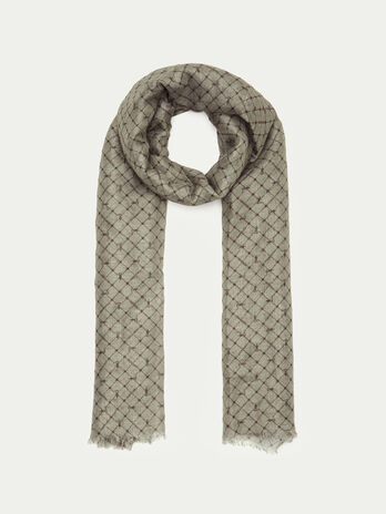 Monogram scarf in modal linen and silk
