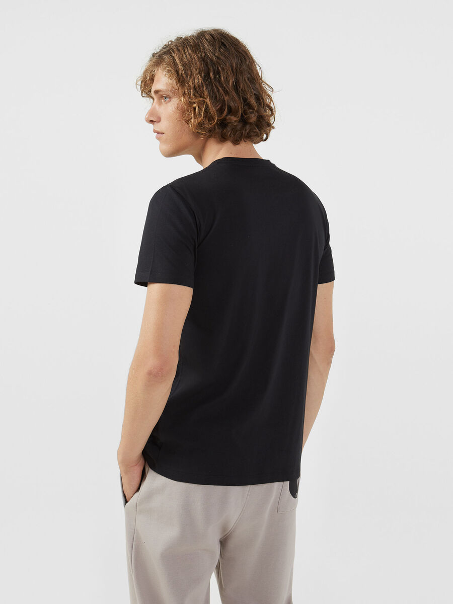 T-shirt regular fit in jersey con lettering a contrasto