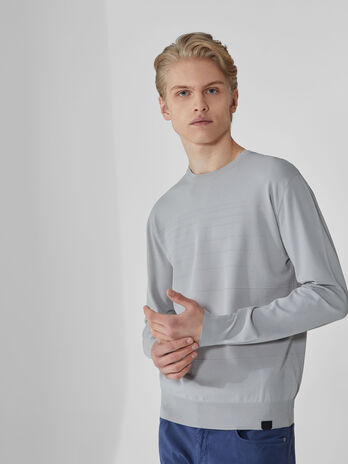 Regular-fit crew-neck pullover in Ottoman fabric