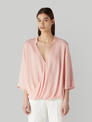 Viscose crepe wrap blouse