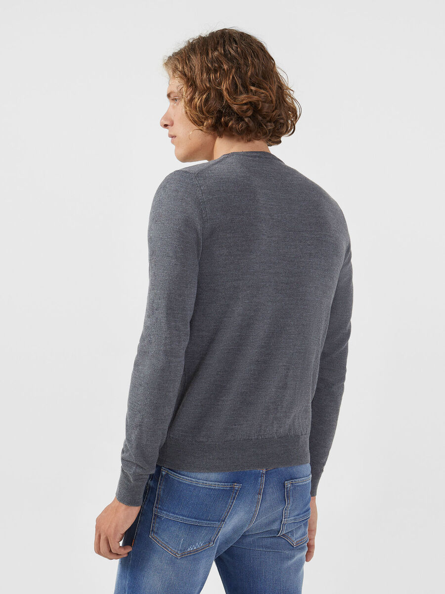 Regular fit wool blend pullover with logo
