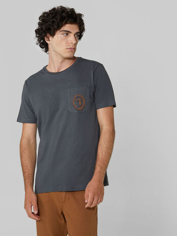 Regular fit jersey T-shirt with branded breast pocket