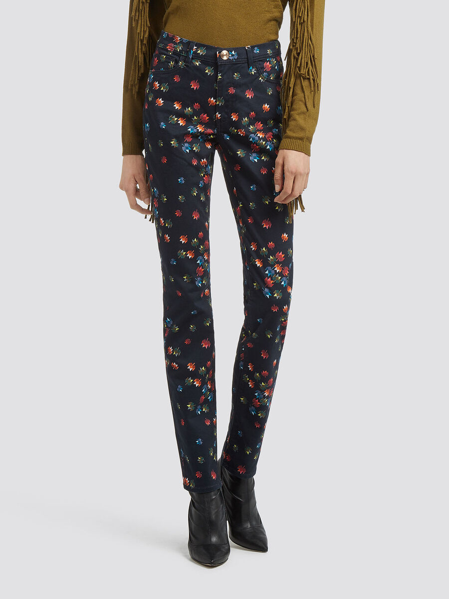 Jean coupe skinny a imprime floral