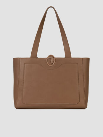 Solid colour smooth faux leather shopper