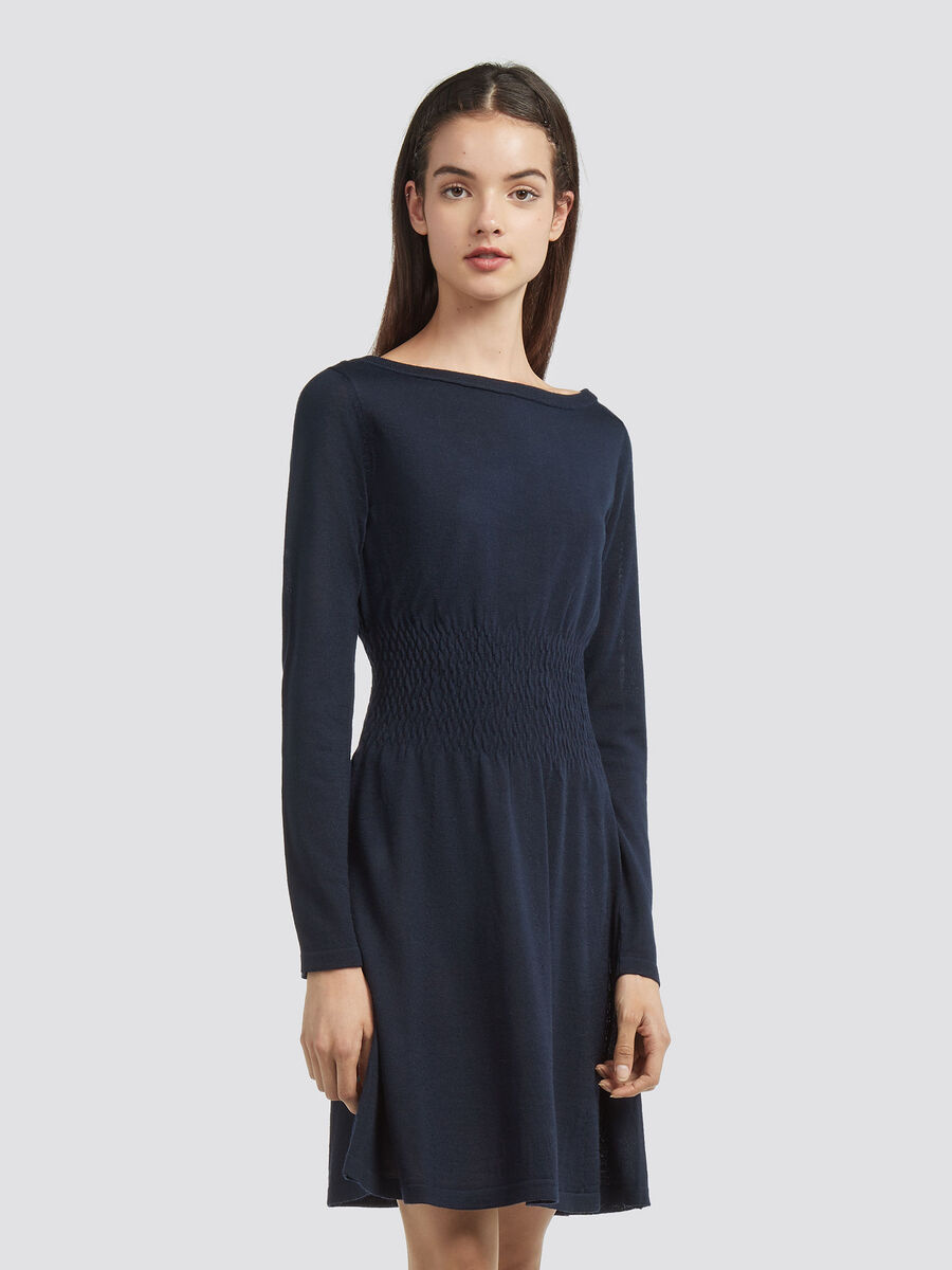 Wool blend dress with a ruched waistband