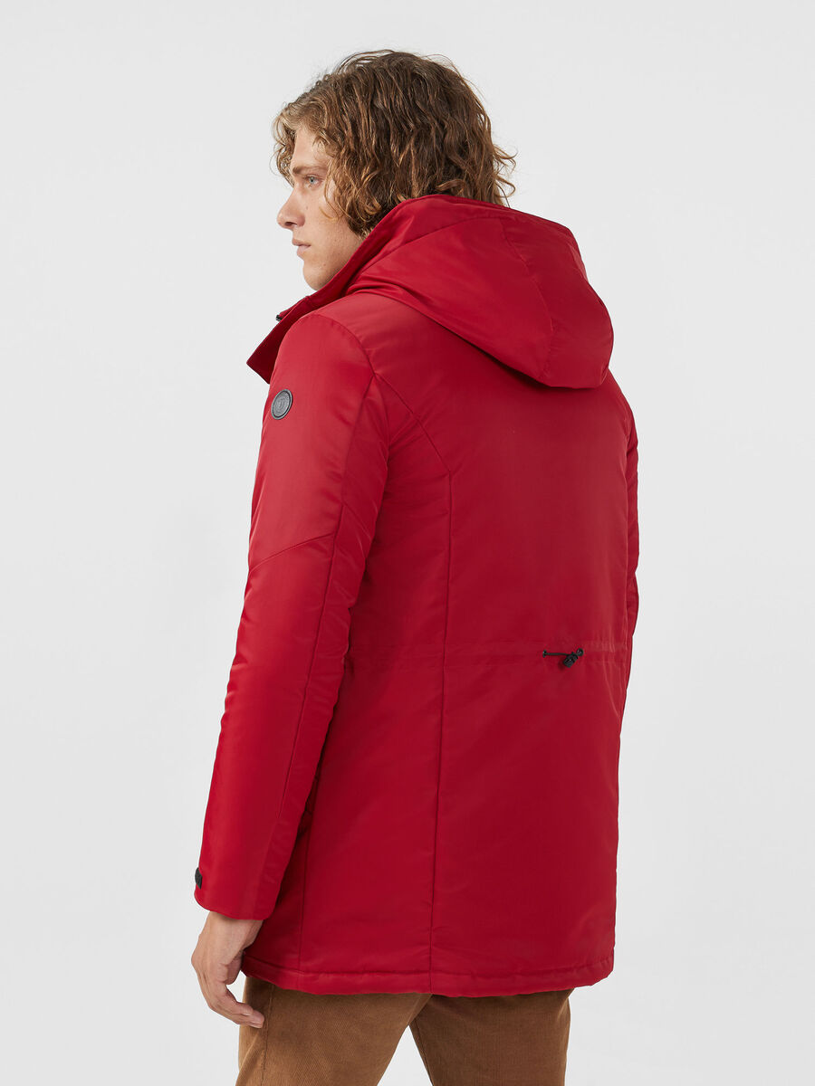 Parka coupe over en nylon satine uni