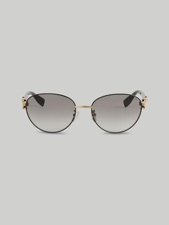 Ovale Sonnenbrille aus Metall mit Logo