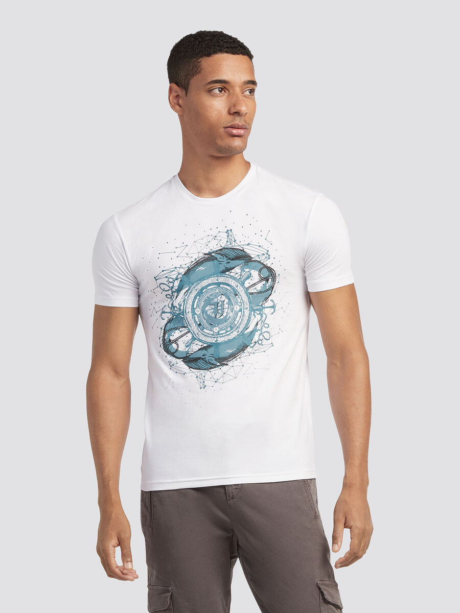Solid colour T-shirt with compass print
