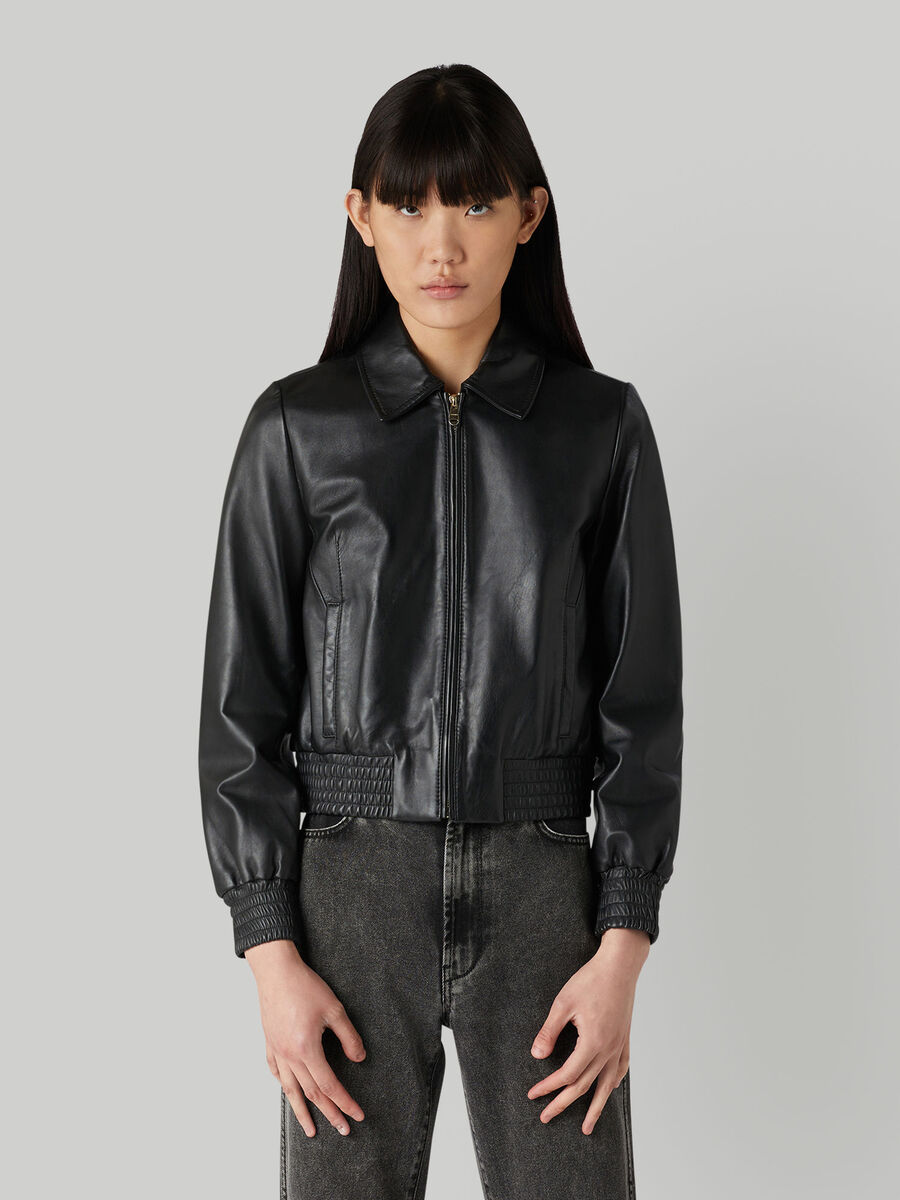 Cropped nappa leather jacket with zip
