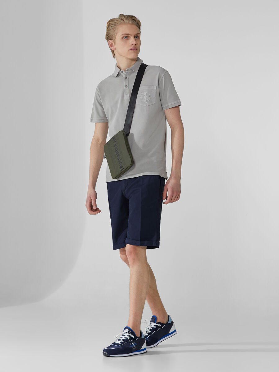 Aviator-fit shorts in linen and cotton gabardine
