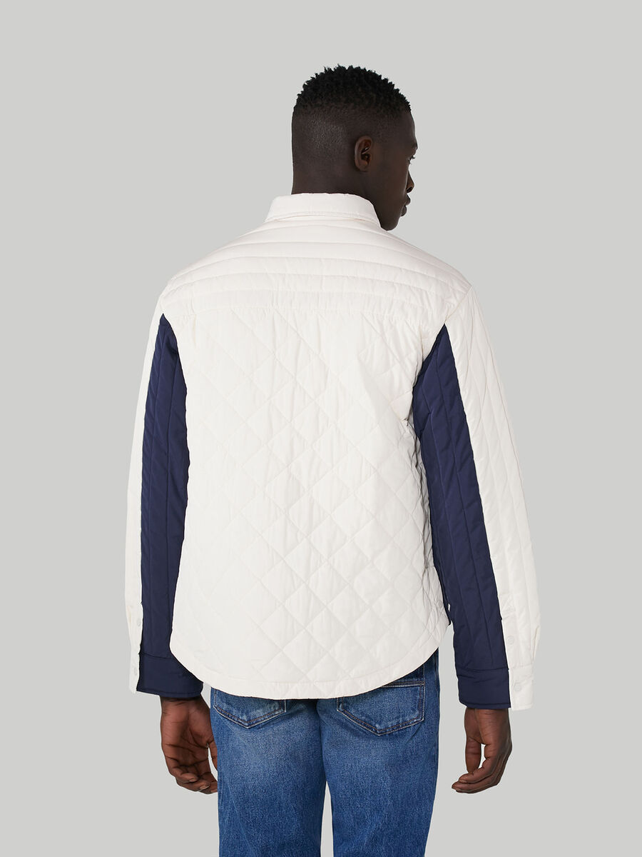 Two-tone quilted technical fabric jacket