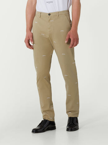 Baggy embroidered cotton trousers