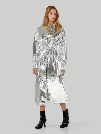Silver nylon trench coat