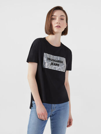 T-Shirt aus Jersey in Cropped Laenge