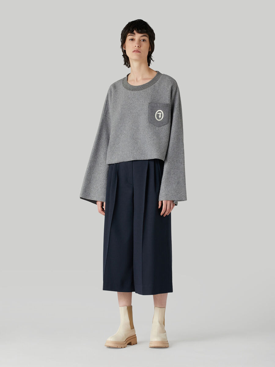 Cropped technical wool trousers