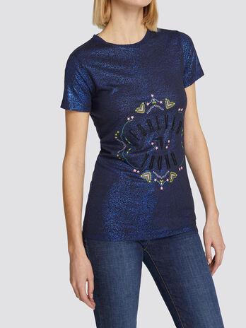 Camiseta de corte regular en luminoso punto de viscosa