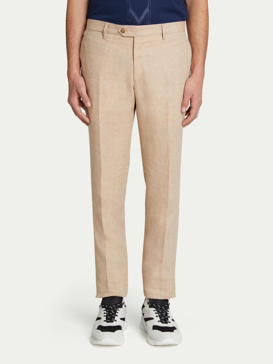 Pantaloni tinta unita con bottoni a contrasto