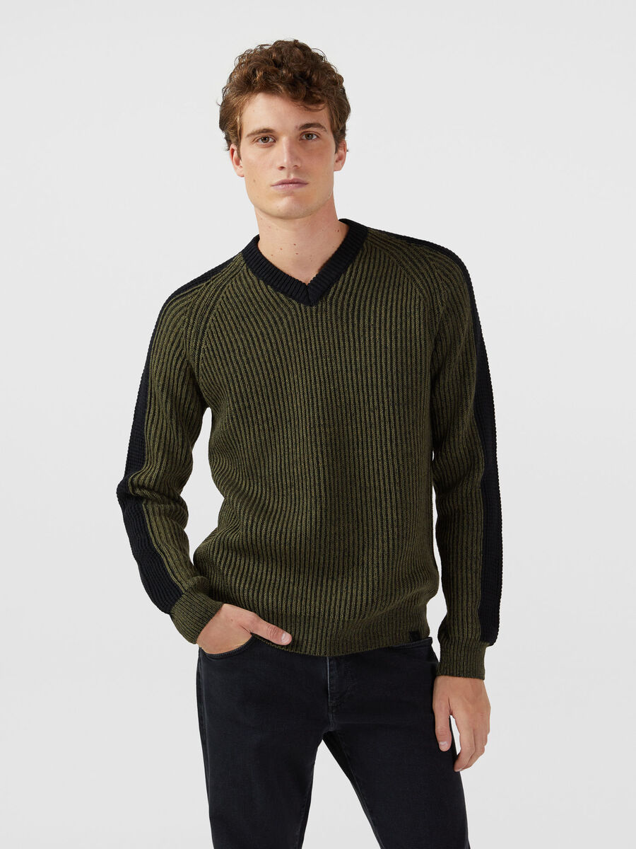 V neck pullover in a two tone wool mohair blend