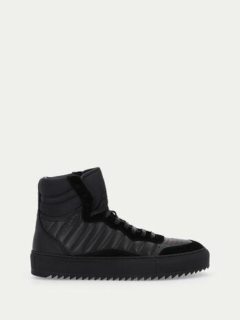 Sneakers en cuir avec bords en daim